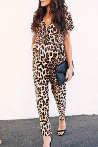 Maternity V-Neck Leopard Jumpsuit