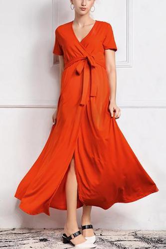 Maternity Lace-Up Front Slit Dress