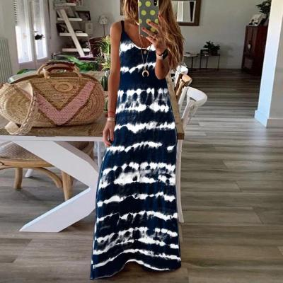Maternity Tie Dye Crew Neck Sleeveless Dress