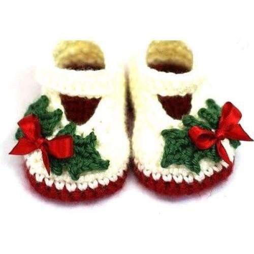 Handmade Crochet Holly Christmas Baby Shoes