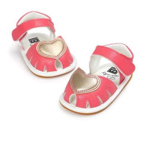 Baby Girl Shoes Heart Pattern Newborn Baby Girl Sandals - Coral