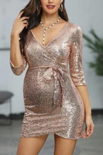 Maternity fashion solid color deep v-neck sequined dress