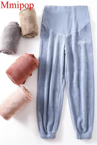 Coral fleece loose warm pants for pregnant women