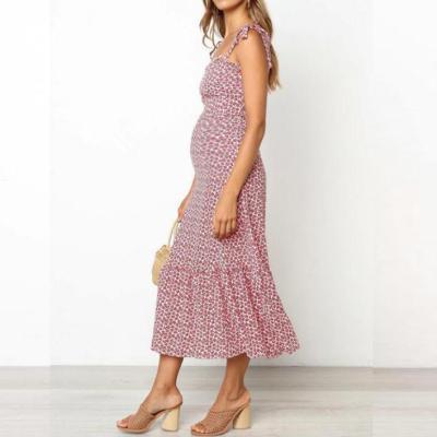 Maternity Sling Small Flower Print Waist Dress