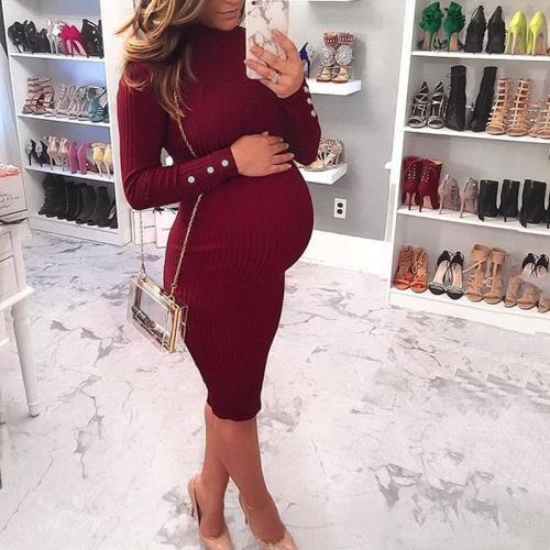 Maternity Bodycon Long Sleeve Sweater Dress