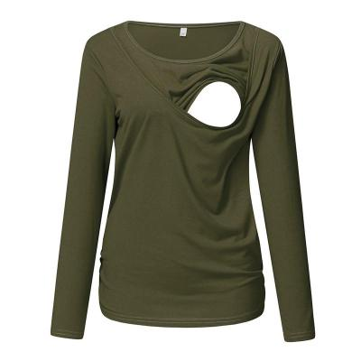 New Round Neck Long Sleeve Slim Fit Maternity T-Shirt Lactation Top