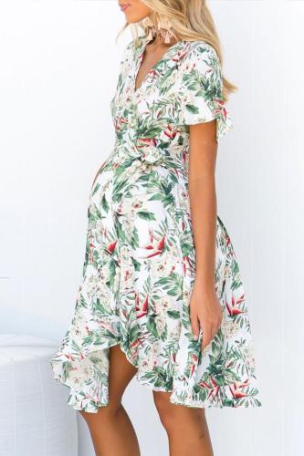 Maternity Casual Tropical Leaf Print Dress