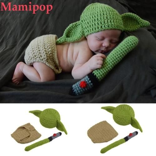 Crochet Yoda Hat Beanie Newborn Baby  Cartoon Photo Costume Props
