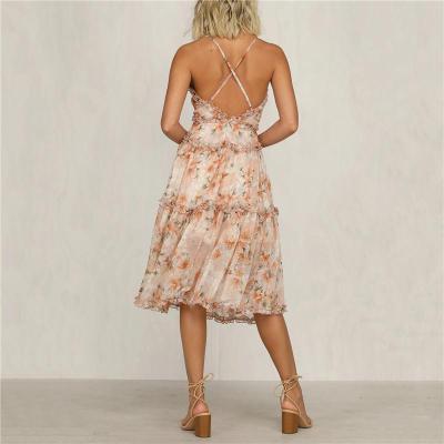 Maternity Strap Deep V-neck Print Dress