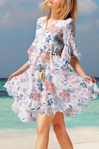 Maternity Floral V-Neck Chiffon Long Dress