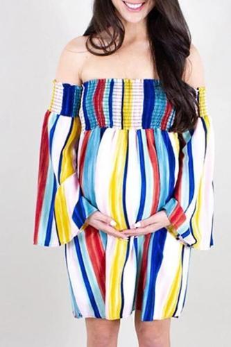 Maternity Color Stripe Strapless Dress
