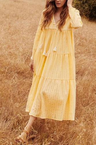 Maternity Fashion V-neck Loose Yellow Holiday Dress