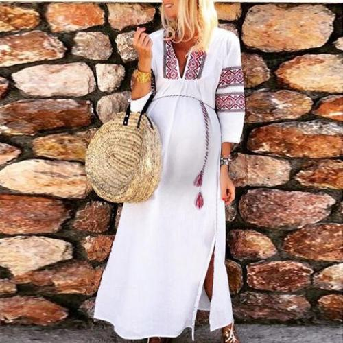 Maternity Sweet Long Sleeve Printed Dress