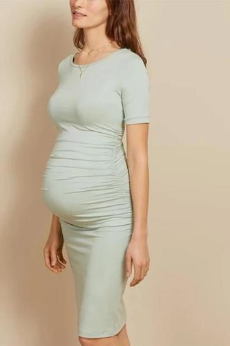 Maternity Casual Round Neck Short Sleeve Dress