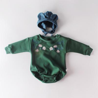 Winter New Boys and Girls Embroidered Bag Fart Hatsuit Baby Long Sleeve One-piece Creeper