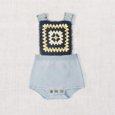Children's Cross Straps Knitting Wool One-piece Romper