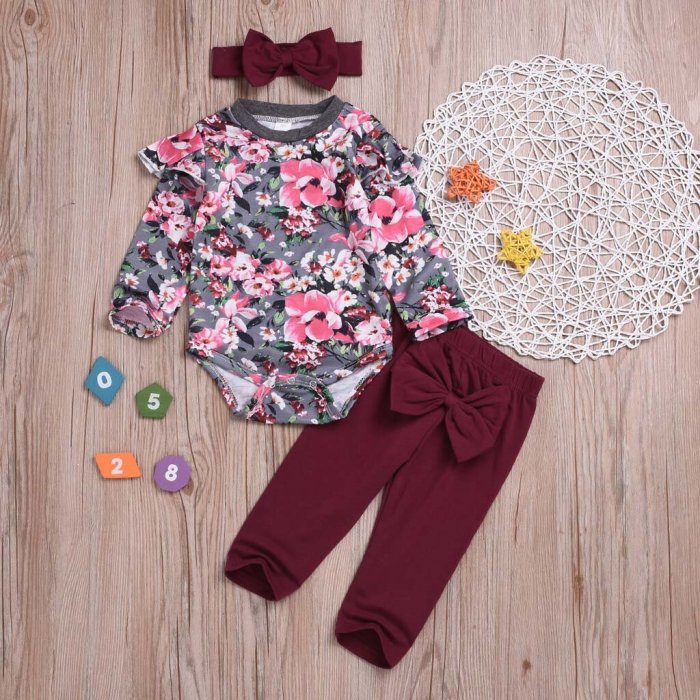 Newborn Set Infant Baby Girls Fashion Floral Romper
