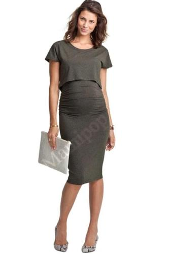 Maternity Women Dress Summer Short Sleeve O-Neck Knee Length Dress
