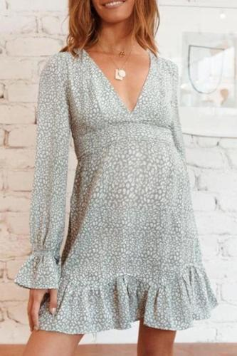 Maternity V Neck Cute Long Sleeve Printed Color Dress