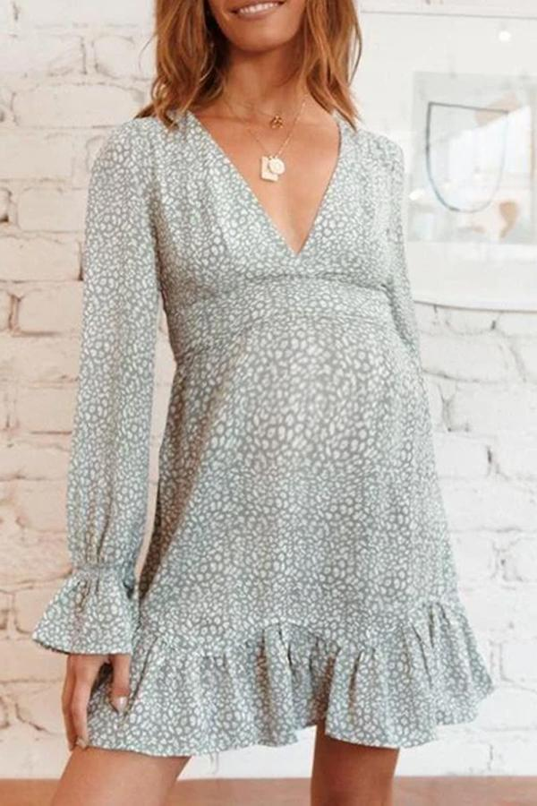 Maternity V Neck Cute Long Sleeve Printed Color Dress
