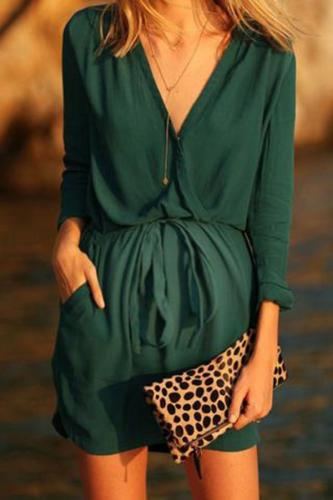 Maternity Solid Color Elastic Waist V-Neck Dress