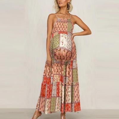 Maternity Bohemian Sling Color Printed Halter Dress
