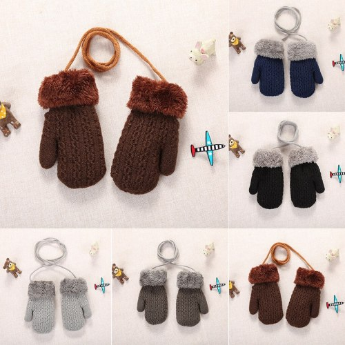 New baby gloves Toddler Baby Girls Boys Outdoor winter kids Patchwork Keep Warm Mittens kids gloves