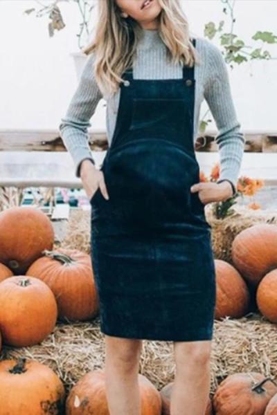 Maternity casual pockets blue bib dress