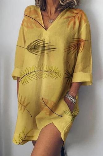 Maternity Casual V-Collar Printed Loose Dress