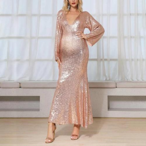Maternity Fashion Long Sleeve V-Neck Bare Back Paillette Dress