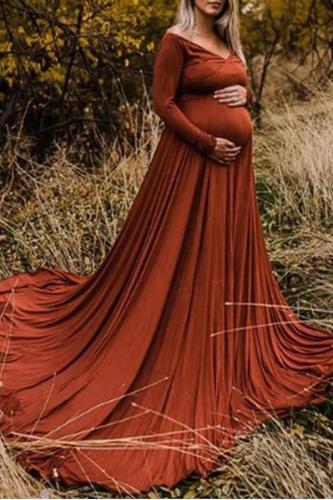 Maternity V Neck Long Sleeve Dress