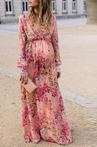Maternity Sweet V-neck pink print long-sleeved ruffled dress