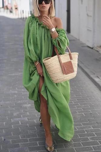 Maternity Bohemian Off-Shoulder Pure Colour Long Sleeve Casual Maxi Dress
