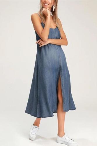 Maternity Bow Denim Harness Dress