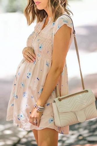 Maternity Elastic Design Short Dress