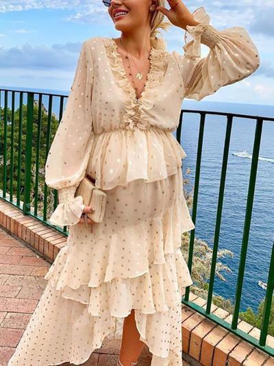 Maternity V Neck Bubble Sleeves Printed Layered Dress