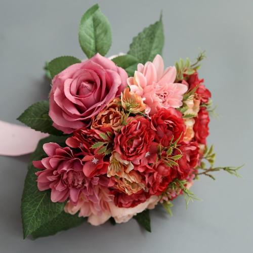 Silk Flower Artificial Plastic Flower Big Rose Bride Bonquet Wedding Home Accessories