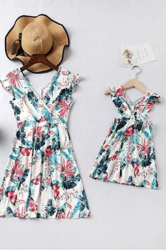 Parent-child Printed Colour Sleeveless Dress