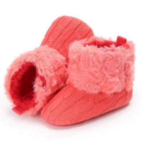 Cute Newborn Baby Infant Cotton Knitted Fur Soft Snow Booties Prewalker