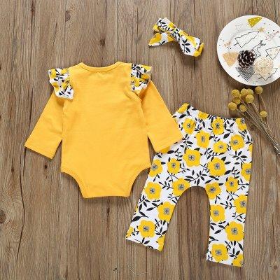 children's clothing cotton printed khaki+printed pants+knot three-piece set