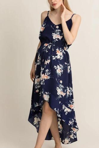 Maternity V-Neck Floral Dress