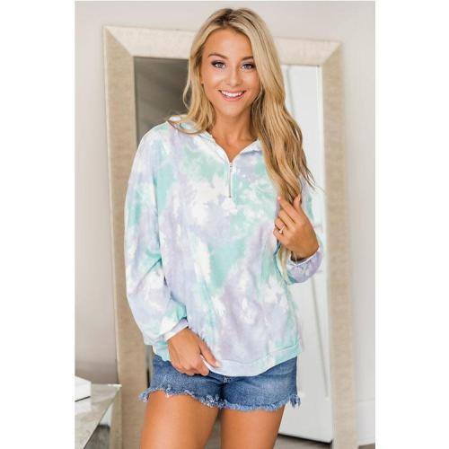 New zipper tie-dye Pullover Sweater Autumn and Winter