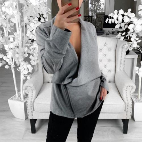 Maternity Simple Solid Color Diagonal Zip Sweater