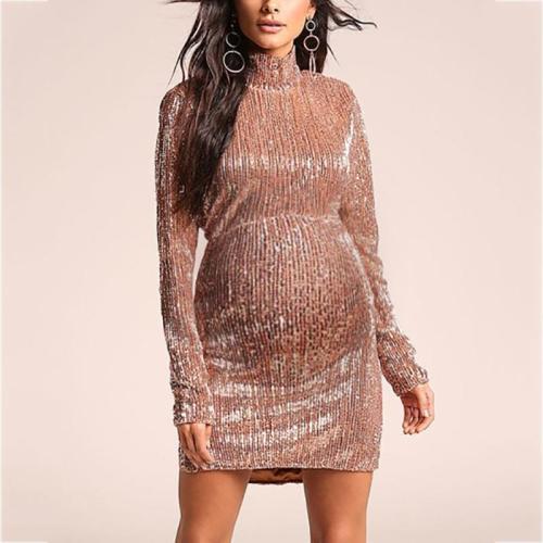 Maternity Simple High Neck Long Sleeve Dress