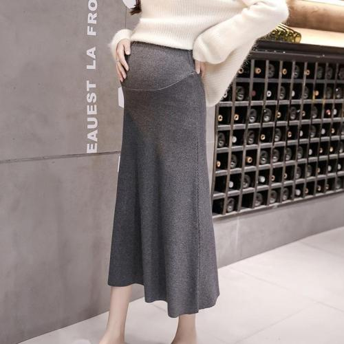 Maternity casual solid color knit skirt