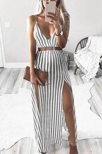 Maternity Sexy V Neck Sleeveless Stripe Dress