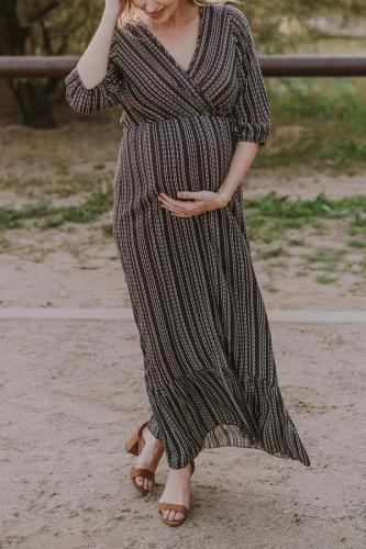 Casual V-neck Mid-sleeve Print Maternity Dress
