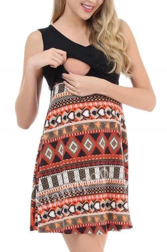 Fashion Stitching Breastfeeding  Printed Sleeveless Slim Dress