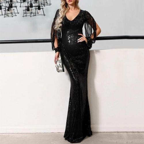 Maternity Fashion Splicing Tassel Bodycon Dress