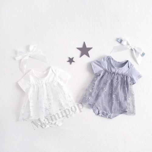 Summer Girl's Short Sleeve Starfish Mesh Pure Cotton Triangle Creeping Skirt